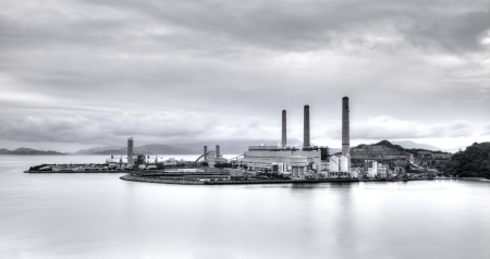 Power plant in black and white
