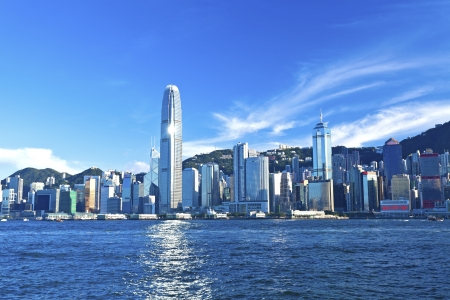 Hong Kong view along Victoria Harbor Imagens