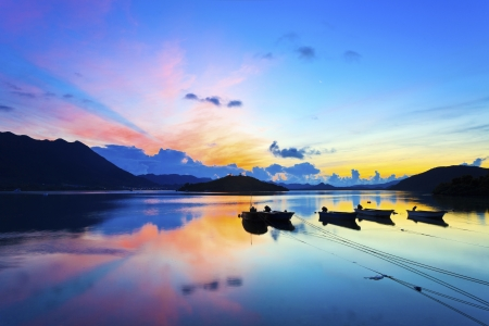 Sunrise over the sea in Hong Kong