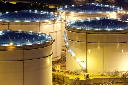 gas distribution: Oil tank, close-up at night  Stock Photo
