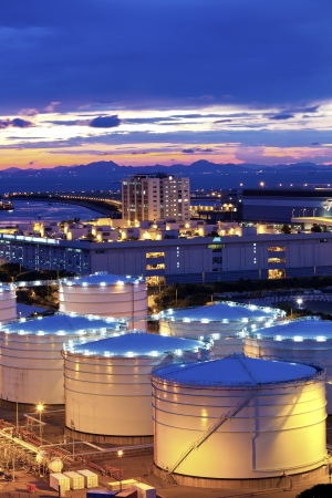 Oil tank in cargo terminal photo