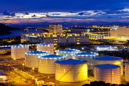 Oil tank at sunset in Hong Kong Stock Photo