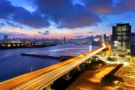 Sunset modern city overpass photo