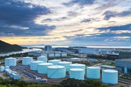 greenpeace: Oil tanks at twlight  Stock Photo