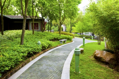 Chinese garden with walking path photo