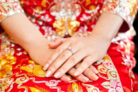 Chinese bride hand with ring photo