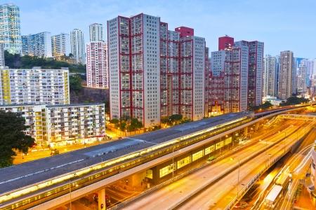 railway transportation: Railway transportation in Hong Kong at night