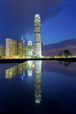 Hong Kong buildings at night photo