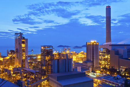 Power plant at sunset in Hong Kong