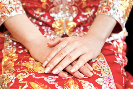 Chinese bride in wedding day photo