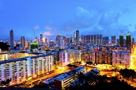 po: Sham Shui Po district in Hong Kong at night Stock Photo