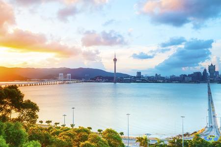 Macau stadsbeeld zonsondergang