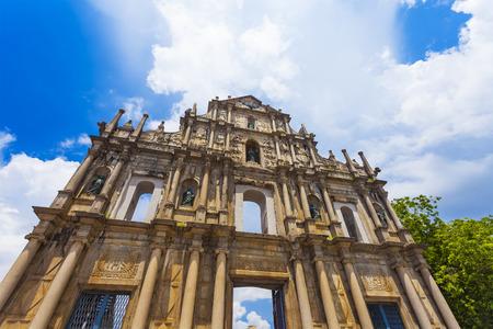 macau: Ruins St Paul church in Macau, China