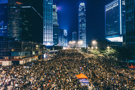 HONG KONG, SEPT 30: Crowd of protesters occupy the road in Admiralty on 30 September 2014. Hong Kong people are fighting for a real universal suffrage for the next chief executive election.