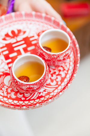 Chinese tea ceremony cups in wedding day 스톡 콘텐츠
