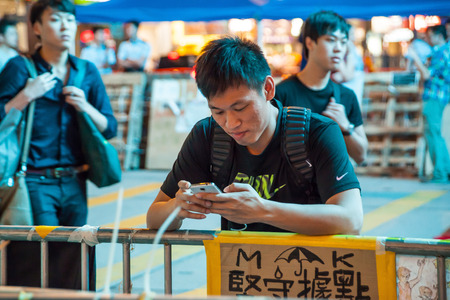 HONG KONG, OCT 31: Umbrella Revolution in Mongkok on 31 October 2014. Hong Kong people are fighting for a real universal suffrage for the next chief executive election.