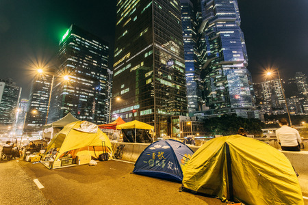 HONG KONG, OCT 14: Umbrella Revolution in Admiralty on 14 October 2014. Hong Kong people set up many facilities at the occupied zone.