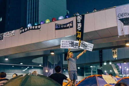 HONG KONG, OCT 14: Umbrella Revolution in Admiralty on 14 October 2014. Hong Kong people are fighting for a real universal suffrage for the next chief executive election.