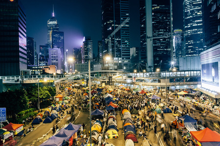suffrage: HONG KONG, OCT 14: Umbrella Revolution in Admiralty on 14 October 2014. Hong Kong people are fighting for a real universal suffrage for the next chief executive election.