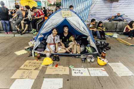 HONG KONG, OCT 23: Umbrella Revolution in Mongkok on 23 October 2014. Hong Kong people are fighting for a real universal suffrage for the next chief executive election.