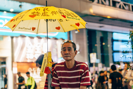 suffrage: HONG KONG, OCT 23: Umbrella Revolution in Mongkok on 23 October 2014. Hong Kong people are fighting for a real universal suffrage for the next chief executive election.