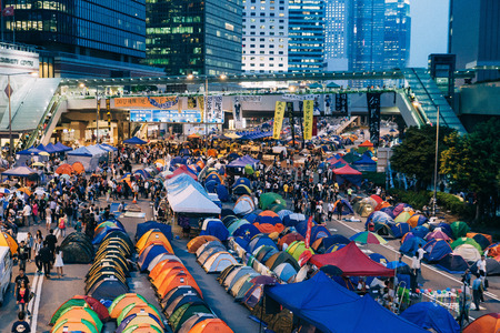HONG KONG, OCT 24: Umbrella Revolution in Admiralty on 24 October 2014. Hong Kong people are fighting for a real universal suffrage for the next chief executive election.
