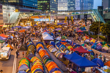 suffrage: HONG KONG, OCT 24: Umbrella Revolution in Admiralty on 24 October 2014. Hong Kong people are fighting for a genuine universal suffrage for the next chief executive election. Editorial