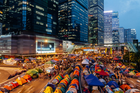suffrage: HONG KONG, OCT 24: Umbrella Revolution in Admiralty on 24 October 2014. Hong Kong people are fighting for a real universal suffrage for the next chief executive election. Editorial