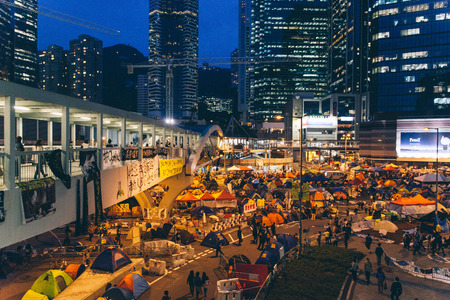 HONG KONG, OCT 24: Umbrella Revolution in Admiralty on 24 October 2014. Hong Kong people are fighting for a genuine universal suffrage for the next chief executive election.