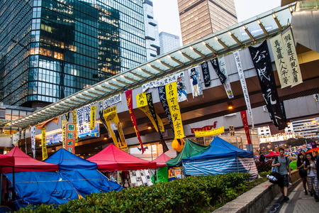 suffrage: HONG KONG, NOV 6: Umbrella Revolution in Admiralty on 6 November 2014. Hong Kong people are fighting for a real universal suffrage for the next chief executive election. Editorial
