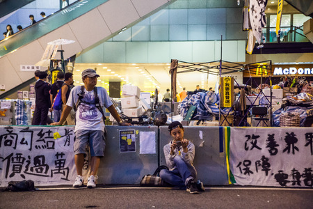 HONG KONG, NOV 6: Umbrella Revolution in Admiralty on 6 November 2014. Hong Kong people are fighting for a real universal suffrage for the next chief executive election.