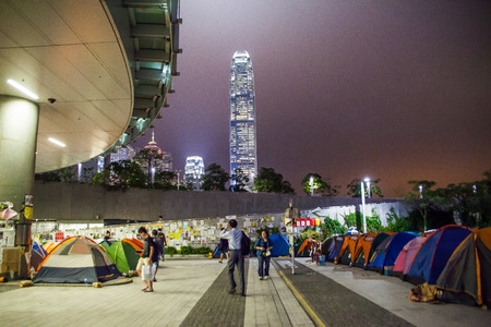 suffrage: HONG KONG, NOV 12: Umbrella Revolution in Admiralty on 12 November 2014. Hong Kong people are fighting for a real universal suffrage for the next chief executive election.