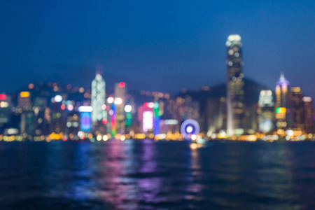 lighhts: Blurred lighhts from Victoria Harbor, Hong Kong.