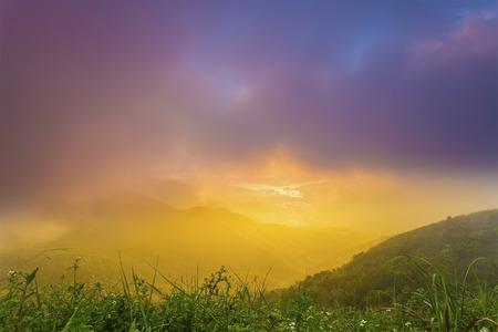 faintly visible: Sunrise mountain Stock Photo