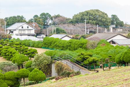 Schöne Aussicht auf das traditionelle japanische Haus im japanischen Botanischen Garten Standard-Bild