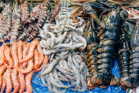 mariscos: escaparate mercado de mariscos