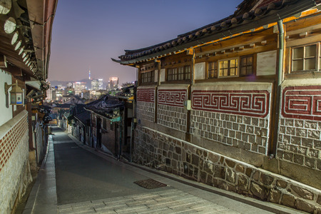 historic district: Seoul, South Korea at the Bukchon Hanok historic district.