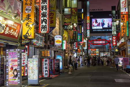 kabuki: KABUKICHO, TOKYO - AUG 4: Bustling night life in Kabukicho, the entertainment and red-light district in Shinjuku on 4 August, 2015.