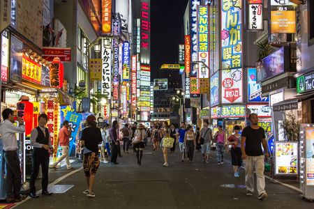 KABUKICHO, TOKYO - AUG 4: Bustling night life in Kabukicho, the entertainment and red-light district in Shinjuku on 4 August, 2015.
