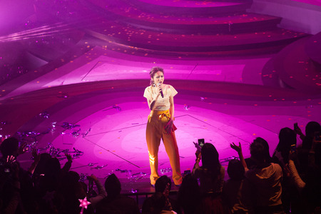 HONG KONG - JAN 26: Miriam Yeung at Lets Begin Concert 2015 on 26 January, 2015 in Hong Kong. She's one of HK top singers and wear different costumes in every concert.