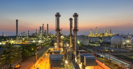 power supply: Oil refinery at twilight
