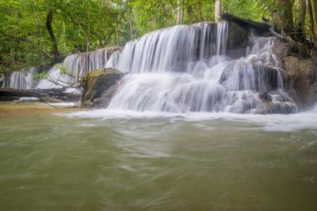 cascade mountains: water fall in kanchanaburi thailand Stock Photo