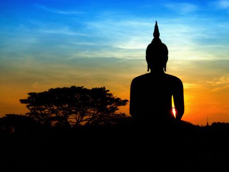 budha: Black buddha silhouette with two tone sky