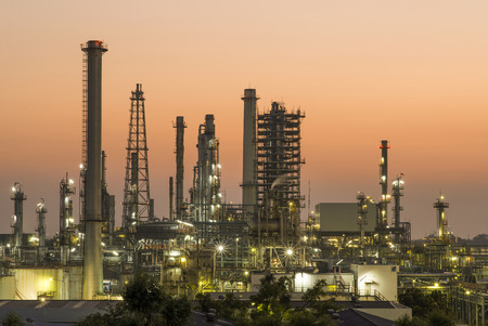gas plant: Oil refinery at twilight