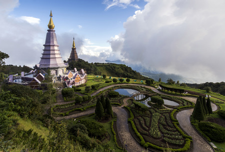 stupa: pagoda agaist blue sky on Intanon mountain in Chiang Mai, Thailand