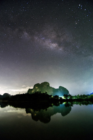 stargazing: Mountain near the lake with Milkyway. Contain noise. Stock Photo