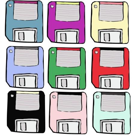 Colorful Floppy disk computer vintage Illustration