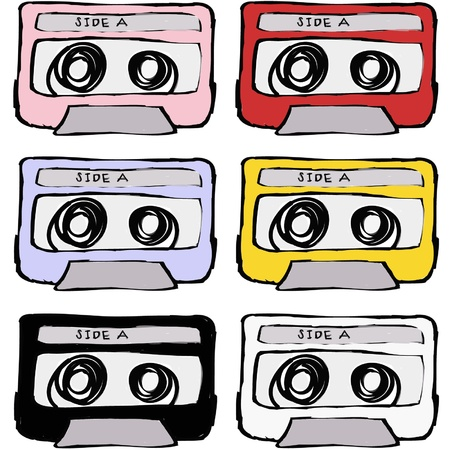 colorful retro cassette tape