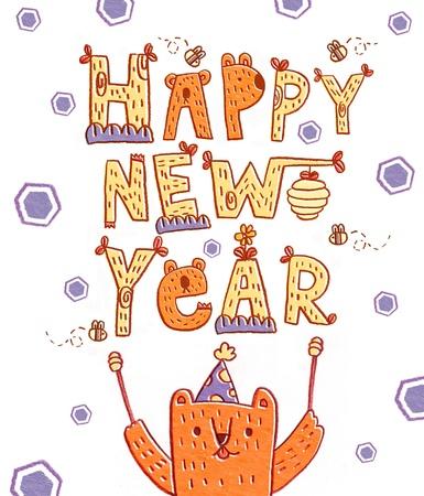 happy new year illustration card hand drawn bear