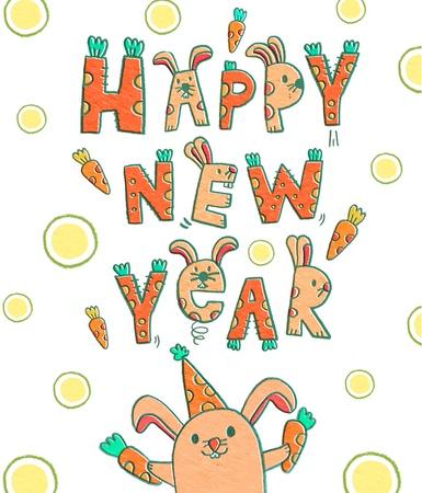 happy new year illustration card hand drawn rabbit